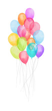 Watercolor Air Balloon. Hand Drawn  Of  Pink, Red , Green, Blue, Purple Balloons Isolated On White Background. Greeting Object Art