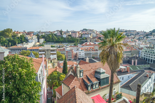 Portugal, Lisabon, city park, roofs. 2014 Canvas Print