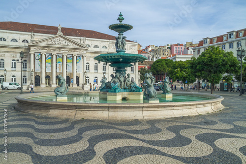 Portugal, Lisabon, city, houses, waterfall. 2014 Canvas Print