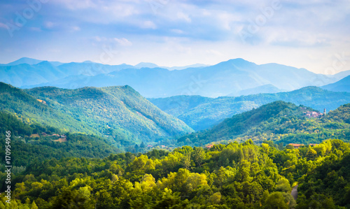 Summer panorama of Apennines mountains, Italy Wallpaper Mural