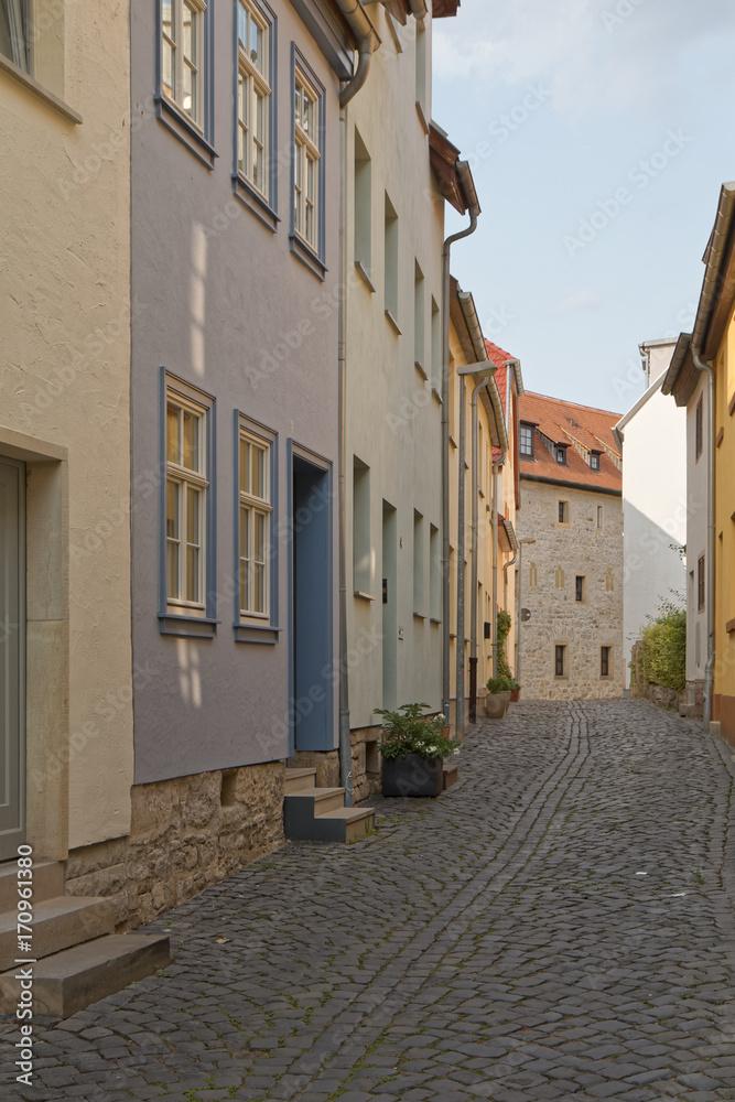 Erfurt, Germany - alley in an old town with colorful houses