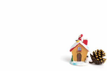 Santa claus sitting on a roof on white background