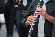Clarinet Band Musician Walking In The Street