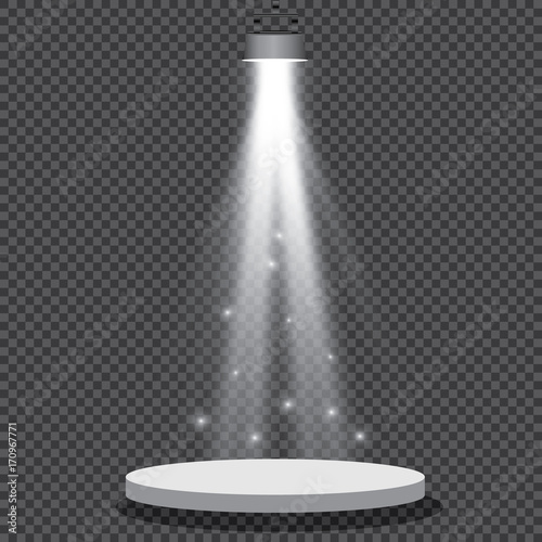 Foto op Canvas Licht, schaduw Spotlights realistic transparent background for show contest or interview vector illustration.
