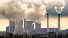 Large Fossil Fuel Power Plant Station Emission Causing Air Pollution.