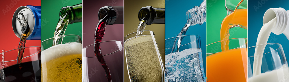 Fototapety, obrazy: Pouring drinks into glasses photo collection