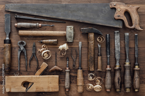 Vintage woodworking tools on the workbench Fotobehang