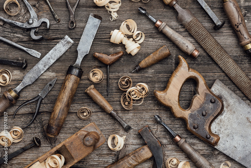 Obraz Old carpentry tools on the workbench - fototapety do salonu