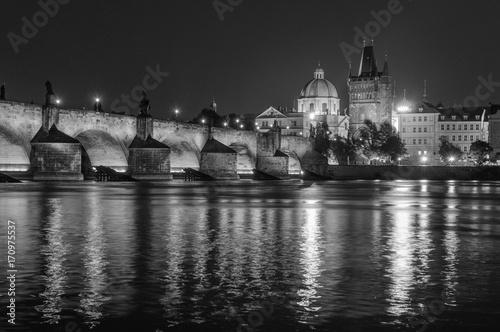 Night Prague, Czech Republic. Black and white photo Canvas Print