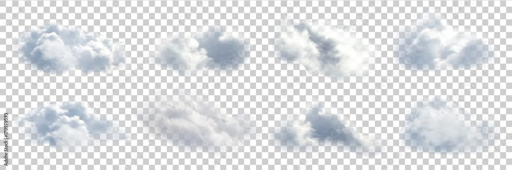 Fototapety, obrazy: Vector set of realistic isolated cloud on the transparent background.