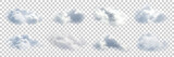 Fototapeta Na sufit - Vector set of realistic isolated cloud on the transparent background.