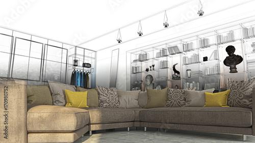 Camera da letto con libreria, sala e divano openspace, lusso ...
