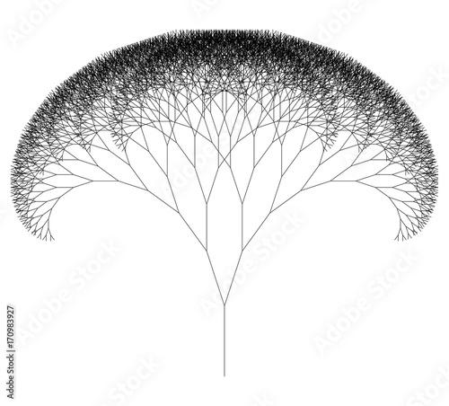 Fotografie, Obraz  Flat Vector Computer Generated   L-system Fractal Tree - Generative Art