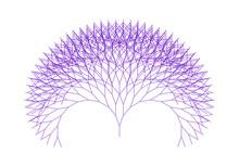 Flat Vector Computer Generated  L-system Branching Fractal  - Generative Art