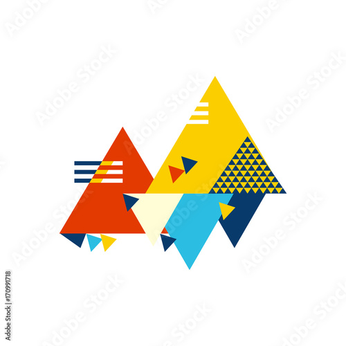 Abstract geometric composition made in Bauhaus style with street art elements Poster