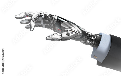 Staande foto Schilderingen Robot hand in business suit with fingers holding empy space futuristic design template