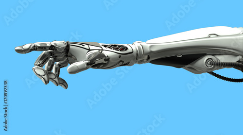Foto  A robotic mechanical arm pointing with index finger