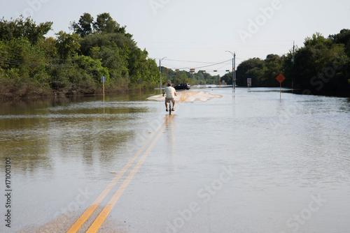 Plakat Stojąca woda w Houston z huraganu Harvey