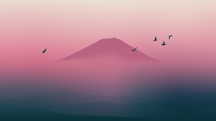 Scenic Fuji mountain of Japan with beautiful twilight sky