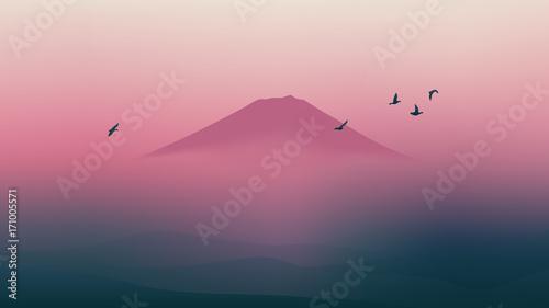 Fototapeta Scenic Fuji mountain of Japan with beautiful twilight sky
