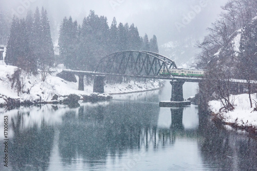 Train in Winter landscape snow on bridge panorama плакат