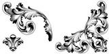 Zestaw vintage barokowy ornament, narożnik. Akant w stylu retro wzór antyczny. Ozdobny element projektu kaligrafii filigran wektor. - wektor zapasów