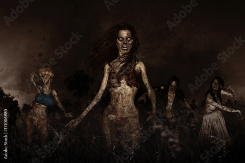 Photo  3d illustration of crowd of zombies,Horror background mixed media