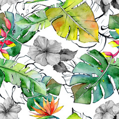 FototapetaTropical Hawaii leaves pattern in a watercolor style. Aquarelle wild flower for background, texture, wrapper pattern, frame or border.