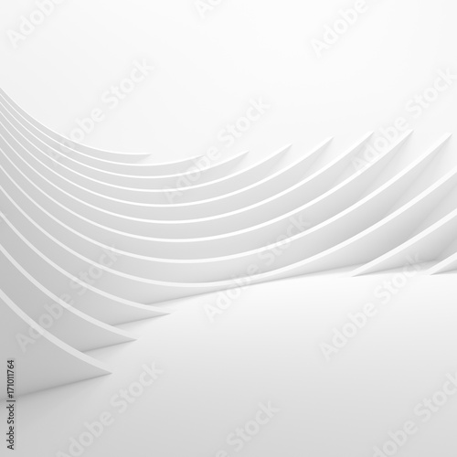 Staande foto Abstract wave Abstract Architecture Background. 3d Rendering of White Circular Tunnel Building