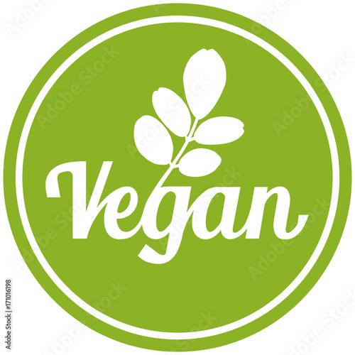 Leinwand Poster sbi1 SymbolButtonIcon sbi - german: Symbol Vegan mit grünen Moringa Oleifera Blä