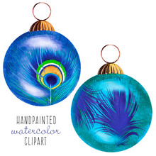 Peacock Feather Christmas Baub...