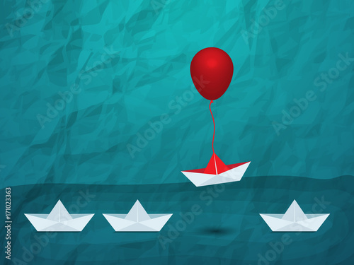 Outstanding the Boat rises above with balloon Canvas Print