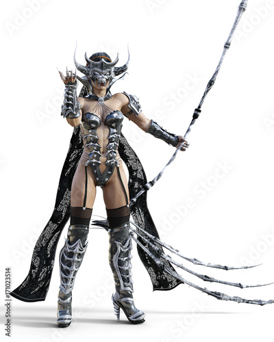 Deurstickers Art Studio Evil sorceress mask horns. Gothic warrior woman. Magical protective armor. Muscular athletic body. Realistic 3D rendering isolate illustration. Hi key.