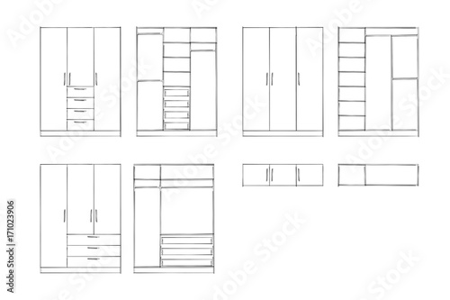 2d sketch  Wardrobe design collection isolated on white background