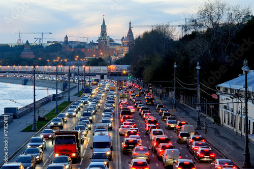 Evening traffic jam near the Moscow Kremlin