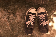 Sepia Of Old And Dirty Shoes.