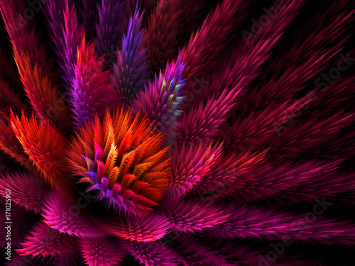 Fotografie, Obraz  Abstract Fluffy Computer Generated Background - Fractal Art