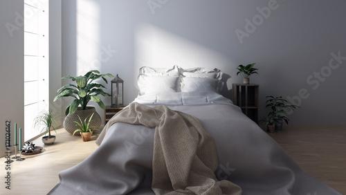 Fotografie, Obraz  Modernes helles Schlafzimmer mit Bett. Skandinavischer Stil