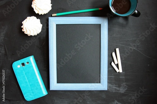 Fototapety, obrazy: Mock-up with chalkboard in turquoise and black color. Place for your text