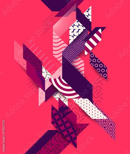 abstrakcyjna-grafika-z-roznymi-wzorkami-i-bordowymi-elementami-na-czerwonym-tle