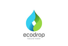 Water Drop Logo Vector. Droplet Eco Natural Aqua Blue Green Icon
