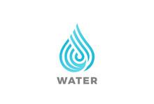 Water Drop Logo Vector Linear....