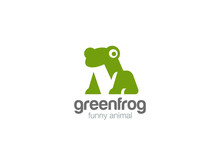 Frog Geometric Abstract Logo Vector Negative Space Logotype Icon