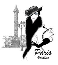 Fashion Model Nearby Vendome Column In Paris