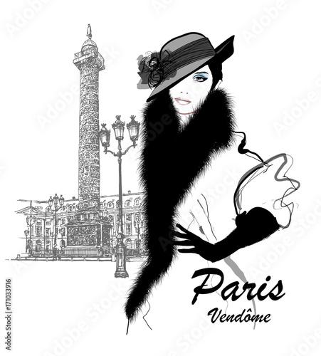 Photo sur Toile Art Studio Fashion model nearby Vendome column in Paris