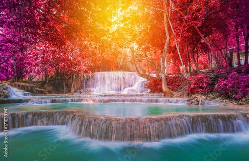 Foto op Canvas Watervallen Waterfall in rain forest (Tat Kuang Si Waterfalls at Luang prabang, Laos.)