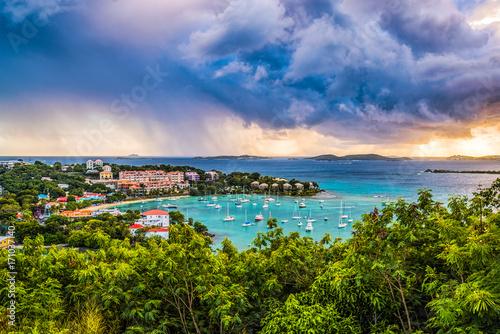 Foto op Plexiglas Caraïben Cruz Bay St. Johns, U.S. Virgin Islands with storm clouds.