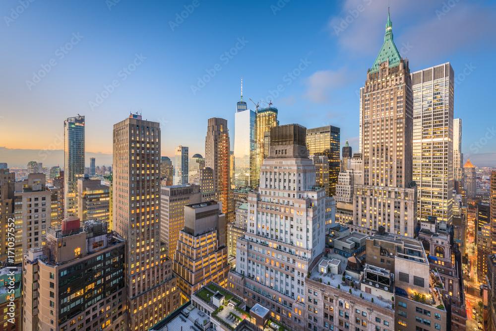 Fototapety, obrazy: New York City Financial DIstrict Cityscape