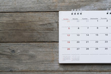 Close Up Of Calendar On The Table For Planner,business,organization,management Schedule, Calender Concept.