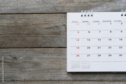 close up of calendar on the table for planner,business,organization,management schedule, calender concept Canvas Print